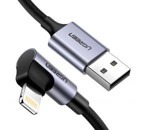 Cabo UGREEN US299 USB 2.0 para Right Angle Lightning 1m Trançado Preto