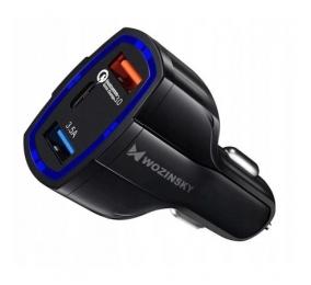 Carregador de Isqueiro Wozinsky Universal Car Charger 2x USB/USB Type C Quick Charge 3.0 Preto